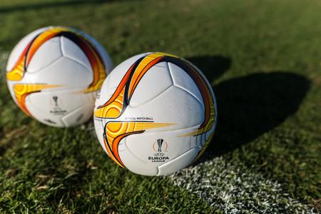 europa: Thessaloniki, Greece - September 13, 2015: Europa League football balls on the field during the training of PAOK in Thessaloniki, Greece. Editorial