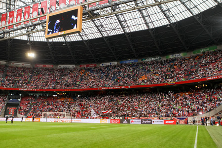 ajax: Amsterdam, Netherlands- July 26, 2016: Interior view of the full Amsterdam Arena Stadium during the UEFA Champions League third qualifying round between Ajax vs PAOK Editorial