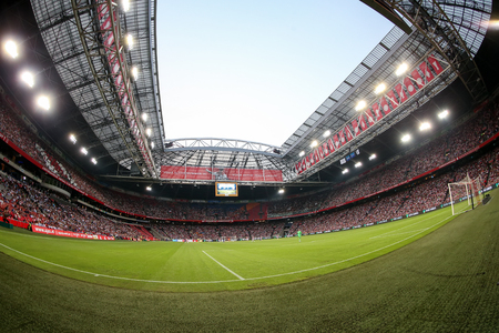 ajax: Amsterdam, Netherlands- July 26, 2016: Interior view of the full Amsterdam Arena Stadium during the UEFA Champions League third qualifying round between Ajax vs PAOK taken by fish-eye