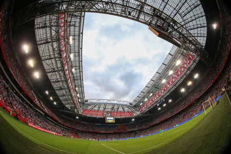 Amsterdam, Netherlands- July 26, 2016: Interior view of the full Amsterdam Arena Stadium during the UEFA Champions League third qualifying round between Ajax vs PAOK taken by fish-eye