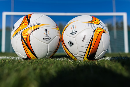 Thessaloniki, Greece - September 13, 2015: Europa League football balls on the field during the training of PAOK in Thessaloniki, Greece. Editorial