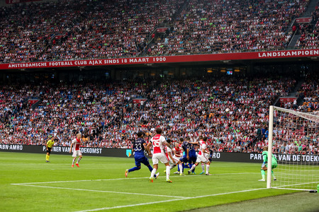 ajax: Amsterdam, Netherlands - July 26, 2016: Some players in action during the UEFA Champions League third qualifying round between Ajax vs PAOK