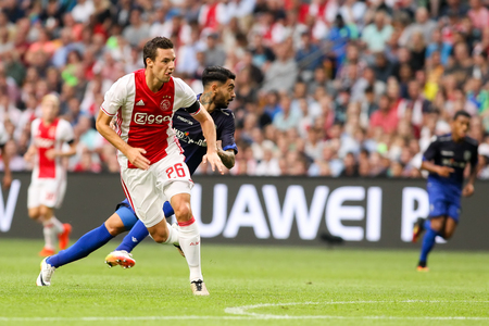 nick: Amsterdam, Netherlands - July 26, 2016: Nick Viergever in action during the UEFA Champions League third qualifying round between Ajax vs PAOK Editorial
