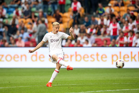 ajax: Amsterdam, Netherlands - July 26, 2016:  Donny van de Beek  in action during the UEFA Champions League third qualifying round between Ajax vs PAOK