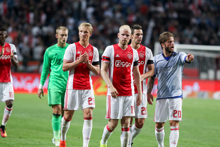 ajax: Amsterdam, Netherlands- July 26, 2016: The players Ajax salute the fans after the end match UEFA Champions League third qualifying round between Ajax vs PAOK