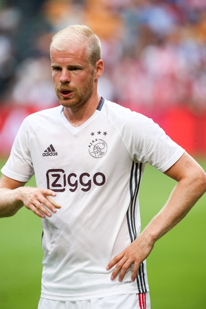 ajax: Amsterdam, Netherlands - July 26, 2016: Davy Klaassen  in action during the UEFA Champions League third qualifying round between Ajax vs PAOK