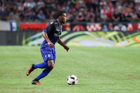 ajax: Amsterdam, Netherlands - July 26, 2016: Garry Rodrigues in action during the UEFA Champions League third qualifying round between Ajax vs PAOK