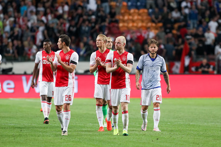 Amsterdam, Netherlands- July 26, 2016: The players Ajax salute the fans after the end match UEFA Champions League third qualifying round between Ajax vs PAOK