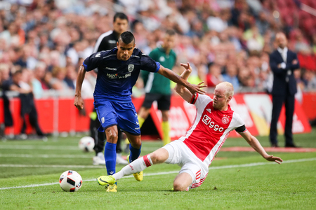 Amsterdam, Netherlands - July 26, 2016: Matos Cruz (L) and Davy Klaassen (R) in action during the UEFA Champions League third qualifying round between Ajax vs PAOK Editorial