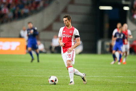 ajax: Amsterdam, Netherlands - July 26, 2016: Nick Viergever in action during the UEFA Champions League third qualifying round between Ajax vs PAOK Editorial