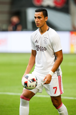 ajax: Amsterdam, Netherlands - July 26, 2016: El Ghazi  in action during the UEFA Champions League third qualifying round between Ajax vs PAOK