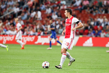 Amsterdam, Netherlands - July 26, 2016: Nick Viergever in action during the UEFA Champions League third qualifying round between Ajax vs PAOK Editorial
