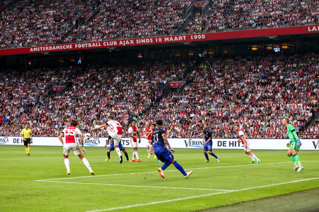 Amsterdam, Netherlands - July 26, 2016: Some players in action during the UEFA Champions League third qualifying round between Ajax vs PAOK