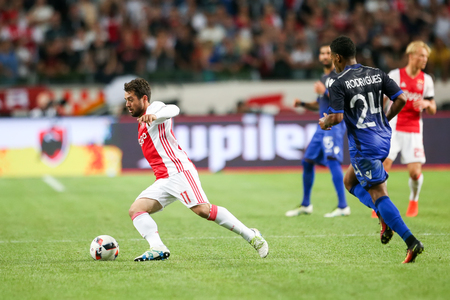 ajax: Amsterdam, Netherlands - July 26, 2016: Amin Younes(L) in action during the UEFA Champions League third qualifying round between Ajax vs PAOK