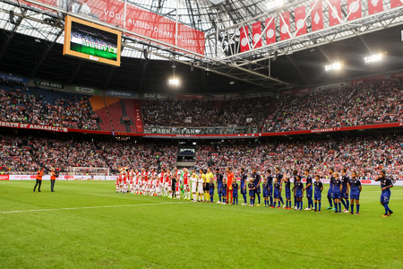ajax: Amsterdam, Netherlands - July 26, 2016: Team line ups during the UEFA Champions League third qualifying round between Ajax vs PAOK