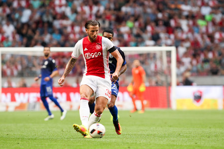 ajax: Amsterdam, Netherlands - July 26, 2016: Mitchell Dijks  in action during the UEFA Champions League third qualifying round between Ajax vs PAOK