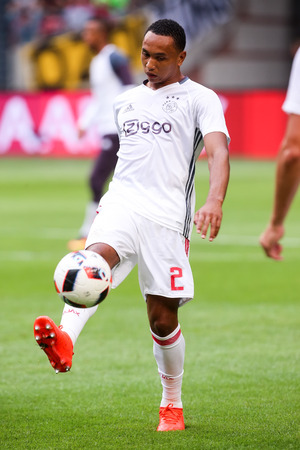 ajax: Amsterdam, Netherlands - July 26, 2016: Kenny Tete  in action during the UEFA Champions League third qualifying round between Ajax vs PAOK Editorial