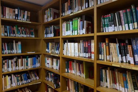 Thessaloniki, Greece - May 12, 2016: Books on the shelves of the Library of University of Thessaloniki. Every day hundreds of students study there Editorial
