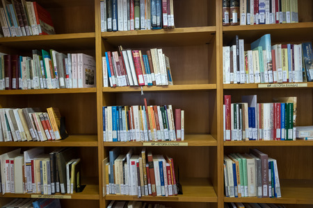 Thessaloniki, Greece - May 12, 2016: Books on the shelves of the Library of University of Thessaloniki. Every day hundreds of students study there