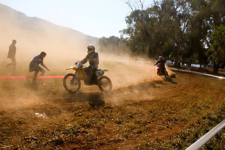 nafplio: Nafplio, Greece - November 11, 2015: An unidentified rider participates in the 4th race motocross scrabble southern Greece