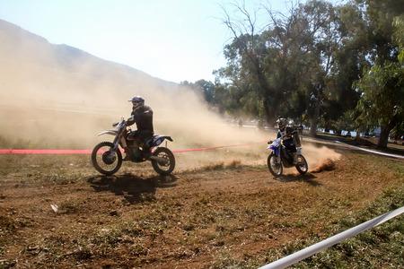 motorcross: Nafplio, Greece - November 11, 2015: An unidentified rider participates in the 4th race motocross scrabble southern Greece