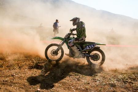 Nafplio, Greece - November 11, 2015: An unidentified rider participates in the 4th race motocross scrabble southern Greece