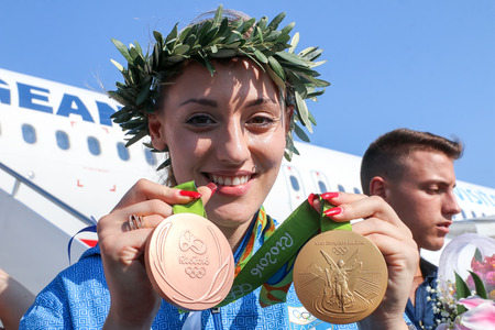 olympics: Thessaloniki, Greece - August 11, 2016: Greek shooting star Anna Korakaki has arrived in Thessaloniki, Greece, with the two medals (gold and bronze) she won in the Rio Olympics