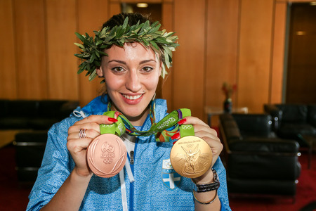 Thessaloniki, Greece - August 11, 2016: Greek shooting star Anna Korakaki has arrived in Thessaloniki, Greece, with the two medals (gold and bronze) she won in the Rio Olympics