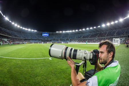 Tbilisi, Georgia - August 18, 2016: Photographer during the  UEFA Europa League game, first round of the playoffs between Dinamo Tbilisi vs PAOK Editorial