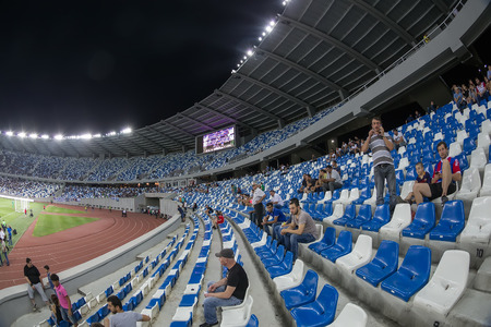 boris: Tbilisi, Georgia - August 18, 2016: Interior view of Boris Paichadze Dinamo Arena during the  UEFA Europa League, first round of the playoffs between Dinamo vs PAOK. Picture taken with fisheye lens