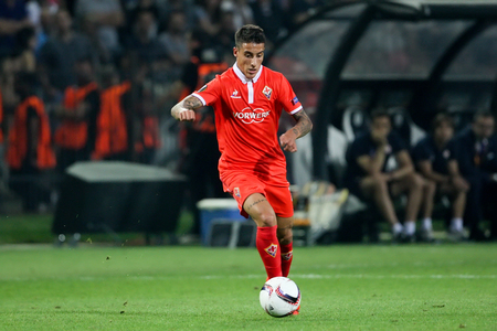 Thessaloniki, Greece, September 15, 2016: Fiorentina Cristian Tello action during the UEFA Europa League match between PAOK vs ACF Fiorentina played at Toumba stadium