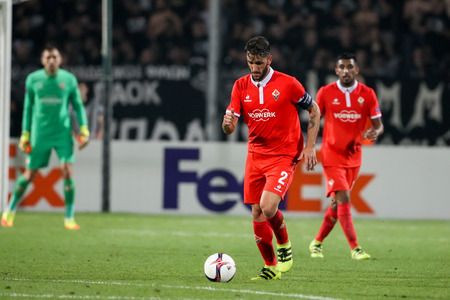 Thessaloniki, Greece, September 15, 2016: Fiorentina Gonzalo Rodriguez action during the UEFA Europa League match between PAOK vs ACF Fiorentina played at Toumba stadium