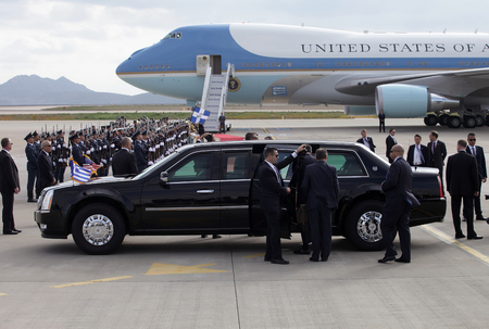 Athens, Greece, November 15, 2016: US Presidential State Car waits by Air Force One lands at the Athens International Airport Eleftherios Venizelos. President Barack Obama arrived in Greece Editorial