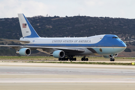 Athens, Greece, November 15, 2016: The Air Force One lands at the Athens International Airport Eleftherios Venizelos. President Barack Obama arrived in Greece