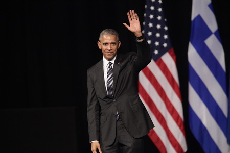 Athens, Greece, Nov 16, 2016:U.S. President Barack Obama waves to the crowd as he delivers a speech at the new opera of Athens on Wednesday