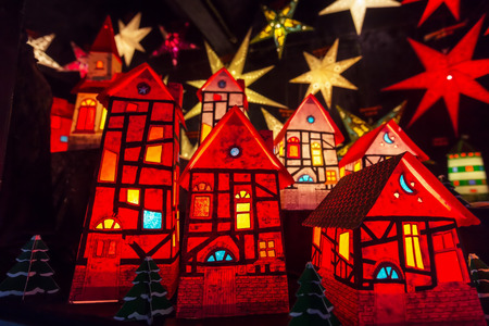 townscape: Christmas small houses and light stars