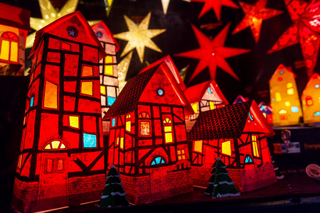 Christmas small houses and light stars