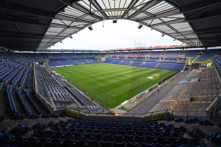 Copenhagen, Denmark - August 26, 2015: Interior view of Brondby Arena during the UEFA Europa League, first round of the playoffs between Brondby vs PAOK. Editorial