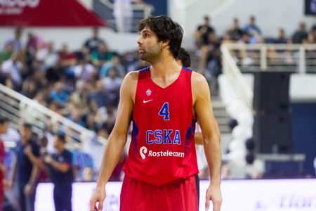 rebound: Thessaloniki, Greece - September 8, 2016: Teodosic Milos of CSKA in action during the friendly match PAOK vs CSKA Moscow