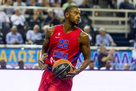 thessaloniki: Thessaloniki, Greece - September 8, 2016: Cory Higgins of CSKA in action during the friendly match PAOK vs CSKA Moscow Editorial