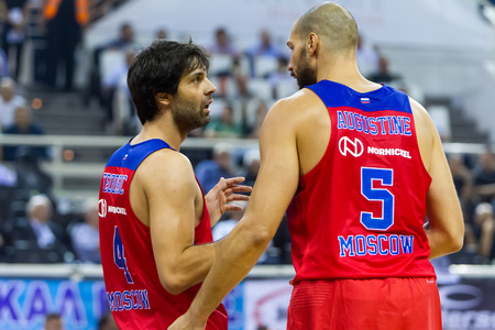 Thessaloniki, Greece - September 8, 2016: Teodosic Milos (L) with Augustine James (R) of CSKA in action during the friendly match PAOK vs CSKA Moscow