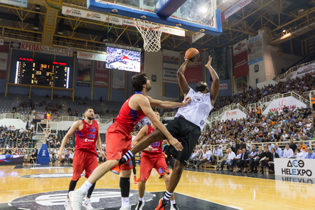 rebound: Thessaloniki, Greece - September 8, 2016: Milos Teodosic (L) of CSKA with Clanton Keith(R) of PAOK in action during the friendly match PAOK vs CSKA Moscow