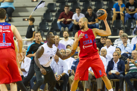 Thessaloniki, Greece - September 8, 2016:  Augustine James (R) of CSKA in action during the friendly match PAOK vs CSKA Moscow