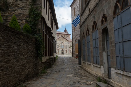 turism: Building details in Karyes on Holy Mount Athos