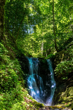 olympus: Waterfall at Mount Olympus. Olympus was notable in Greek mythology as the home of the Greek gods, on the Mytikas peak Stock Photo
