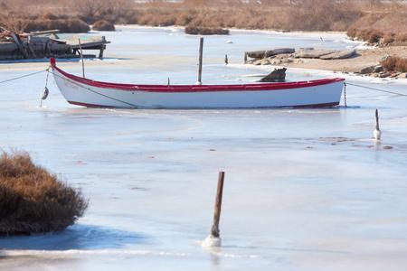 froze the lagoon Kalochori in northern Greece Stock Photo