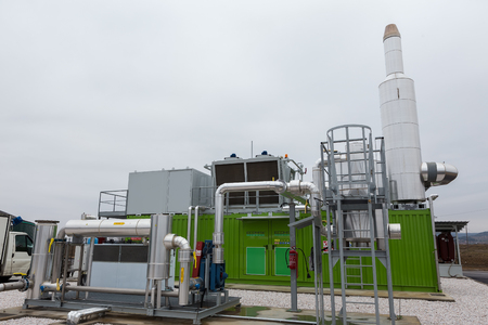 anaerobic: Kolchiko, Greece - January 30, 2017: Electricity from biogas power station using animal waste as raw material in Kolchiko in north Greece