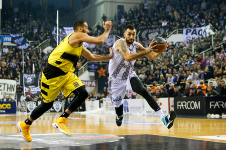 Thessaloniki, Greece, February 5, 2017: Some players in action during the Greek Basket League game Paok vs Aris at PAOK sports arena.