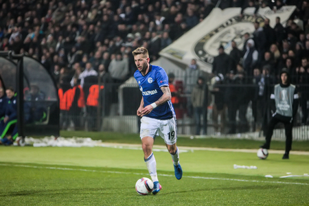 Thessaloniki, Greece, February  16, 2017: Schalke Guido Burgstaller in action during the UEFA Europa League match between PAOK vs Schalke played at Toumba Stadium