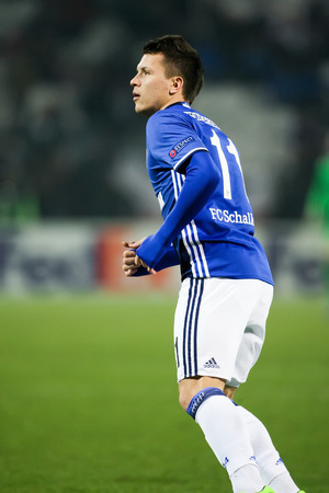 Thessaloniki, Greece, February  16, 2017: Schalke Yevhen Konoplyanka in action during the UEFA Europa League match between PAOK vs Schalke played at Toumba Stadium